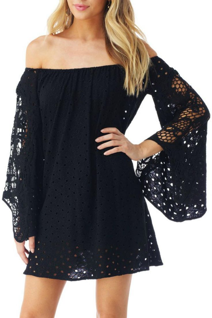 Eyelet detail runs down sleeves and hemline. Off the shoulder neckline is enforced with elastic for a comfortable fit.  Off The Shoulder Mini by Sky. Clothing - Dresses - Mini Florida