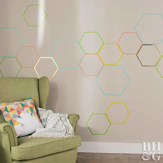 Kick up the style in any space with a one-of-a-kind accent wall featuring washi tape.