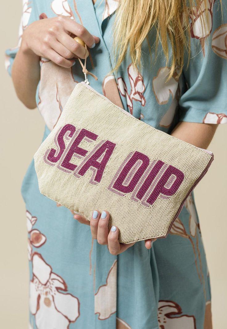 Wrap Dress - Mintbush with Beaded Clutch - Sea Dip