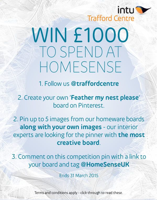 Win £1000 to spend @homesenseuk with intu Trafford Centre's Pinterest contest.
