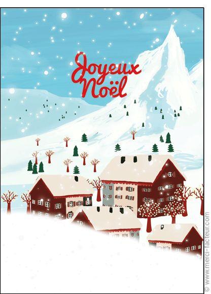 """#Carte #Noël """" #JoyeuxNoël """" dans un village de montagne pour envoyer par La Poste, sur Merci-Facteur !"""
