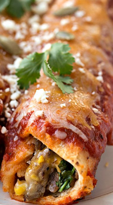 Flank Steak & Four Cheese Enchiladas with Sweet Corn, topped with Homemade Smoky Chipotle Enchilada Sauce