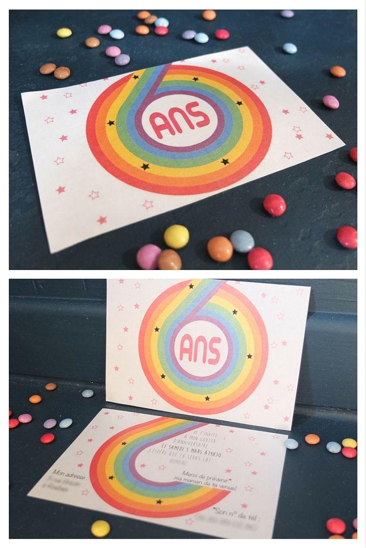 carte anniversaire arc en ciel  imprimer gratuite invitation gouter anniversaire 6 ans