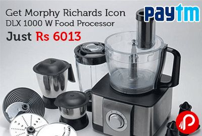 Paytm offers Morphy Richards Icon DLX 1000 W Food Processor Steel Black Just Rs 6013 after 30% Cashback. Power Consumption 1000 W, 3 Speed Settings, 2 Years Manufacturer Warranty. Rs.8590 – 30% Cashback = Rs.6013. Paytm Coupon Code – SKA30  http://www.paisebachaoindia.com/get-morphy-richards-icon-dlx-1000-w-food-processor-just-rs-6013-paytm/