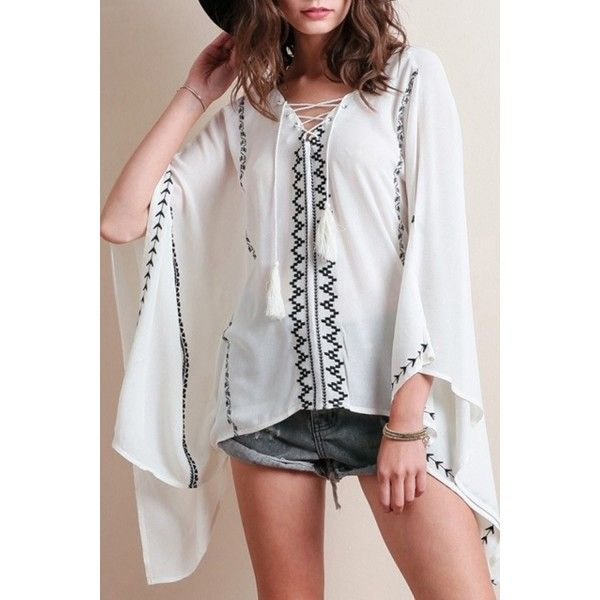 Women's Lace-up Front Batwing Dolman Sleeve Chiffon Blouse (£21) ❤ liked on Polyvore featuring tops, blouses, white, dolman sleeve blouse, chiffon batwing top, white chiffon blouse, batwing tops and white blouse