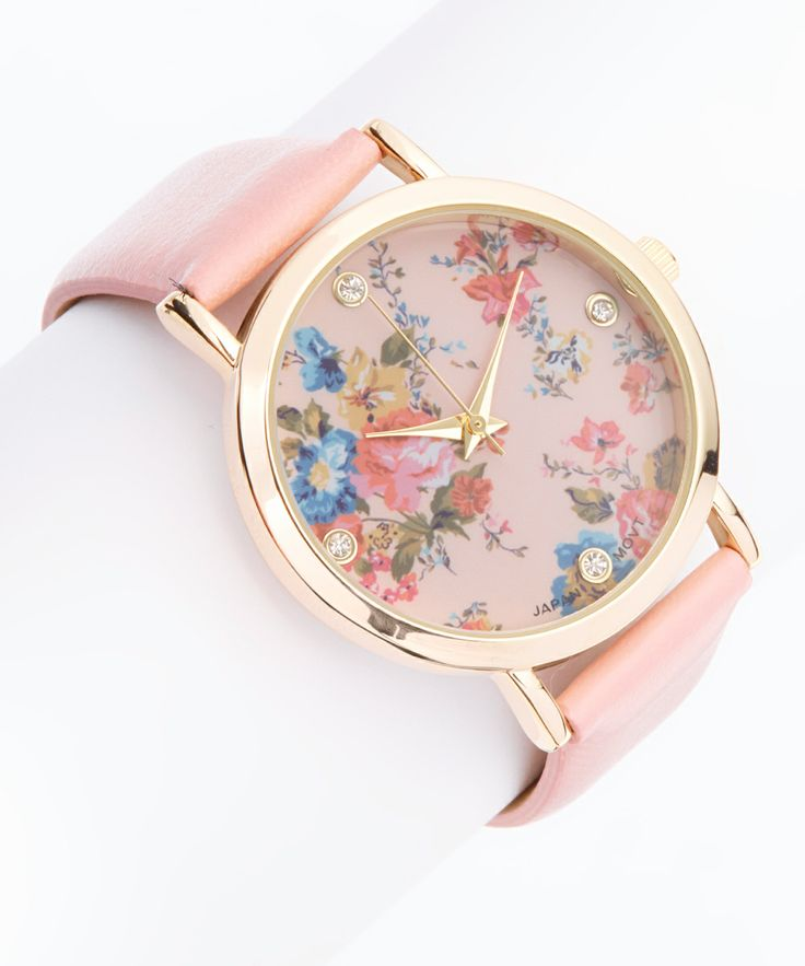 Blush Crystal Floral Watch | zulily