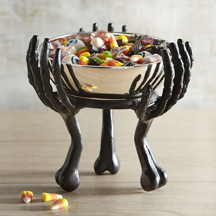give your halloween decorating scheme an extra hand with our shiny skeleton candy bowl no matter what the treat your guests are in for a bone chilling - Small Halloween Decorations