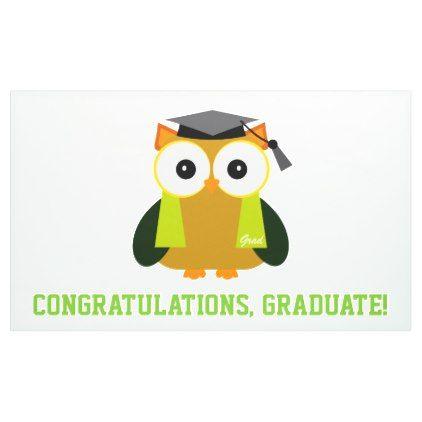 Congratulations Graduate Brown Owl Cap Banner - graduation banners grad banner party idea personalize diy cyo