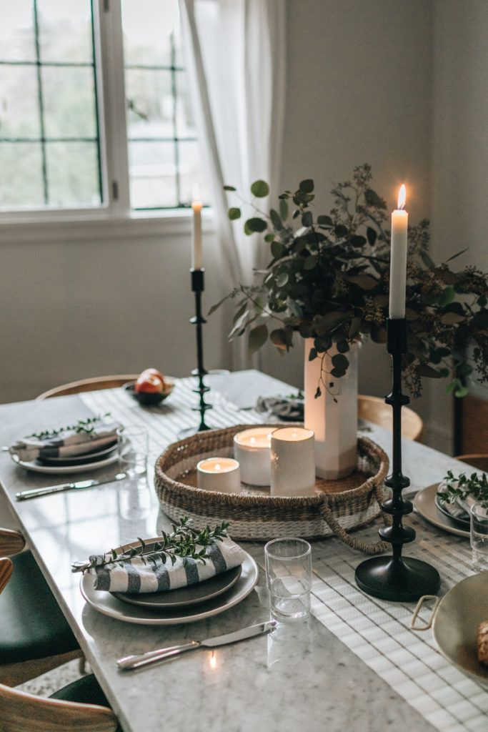 Embracing The Scent Of The Season Wit Delight Designing A Life Well Lived Thanksgiving Table Decorations Simple Thanksgiving Table Dining Table Candles