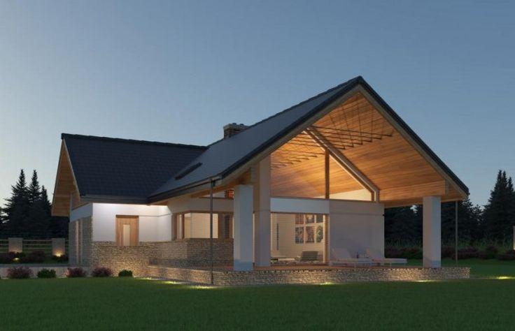 Zaskakuje swoją prostotą i jednocześnie nowoczesnym designem. Dach i duża ilość przeszklenia sprawiają że dom wydaje się duży i przestronny.