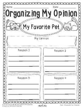 Opinion Writing and Graphic Organizer-My Favorite Pet SAMPLE
