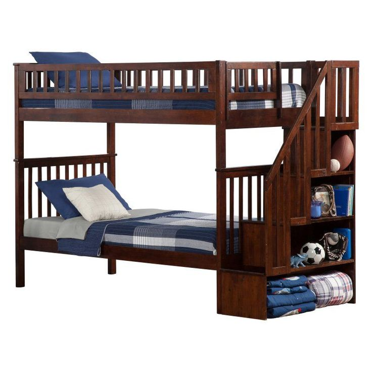 Woodland Twin over Twin Staircase Bunk Bed - AB566