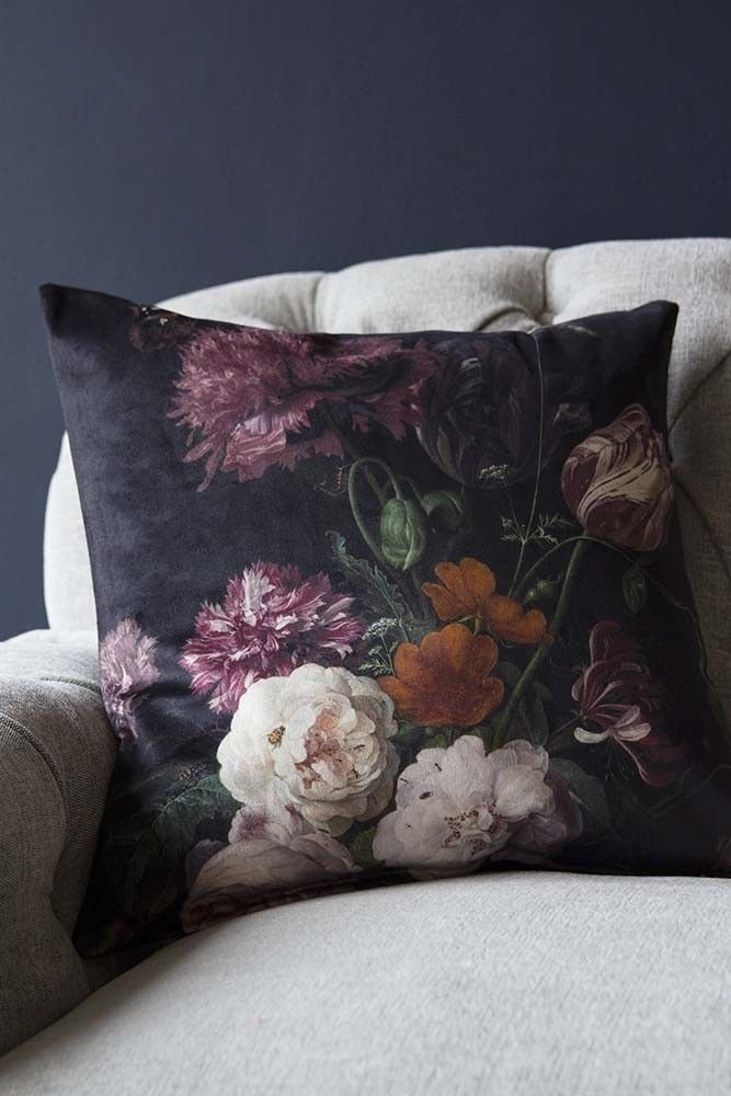 Gothic Floral Throw Pillow Dark Floral