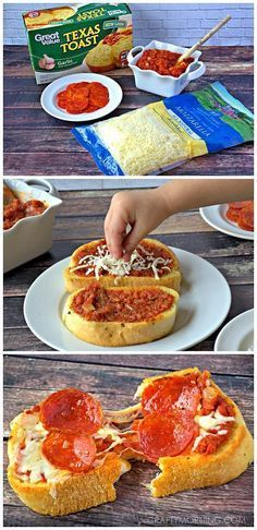 Quick and Easy Texas Toast Pizza Recipe for kids! - Yummy dinner or lunch idea. cheap recipes quick recipes #recipe #frugal