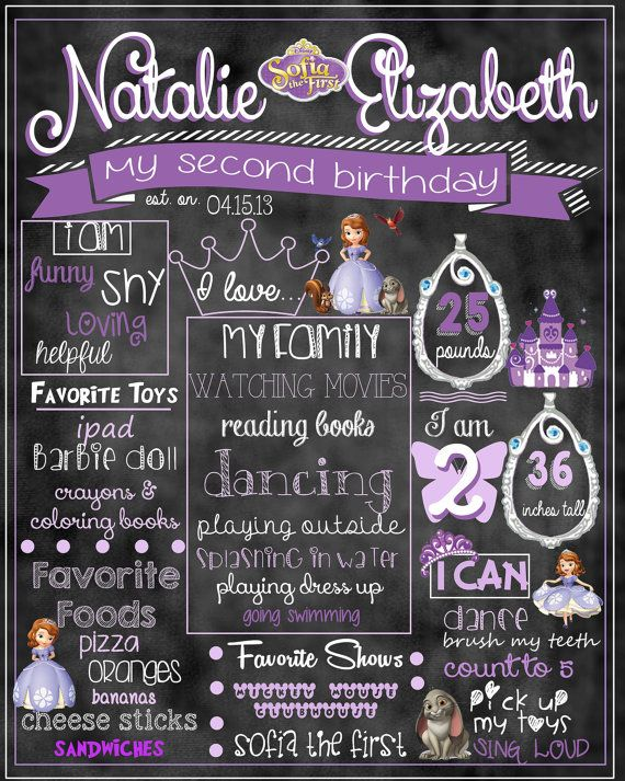 Sofia The First Birthday Stat by ccharactercreationss on Etsy