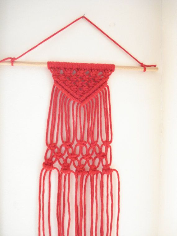 Red wall hanging Boho wall hanging Macrame wall art by Poppyg