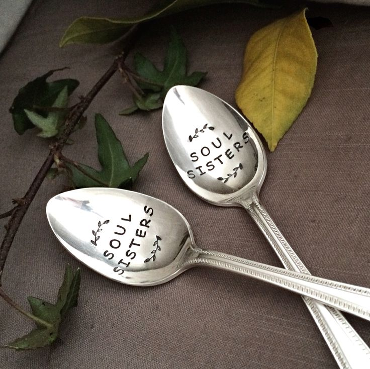 Matching hand stamped vintage silver plate teaspoon set with leafy frond accents. Vintage finds unique soul sisters gift idea. Autumn leaves. Stamped spoons. Boho art.