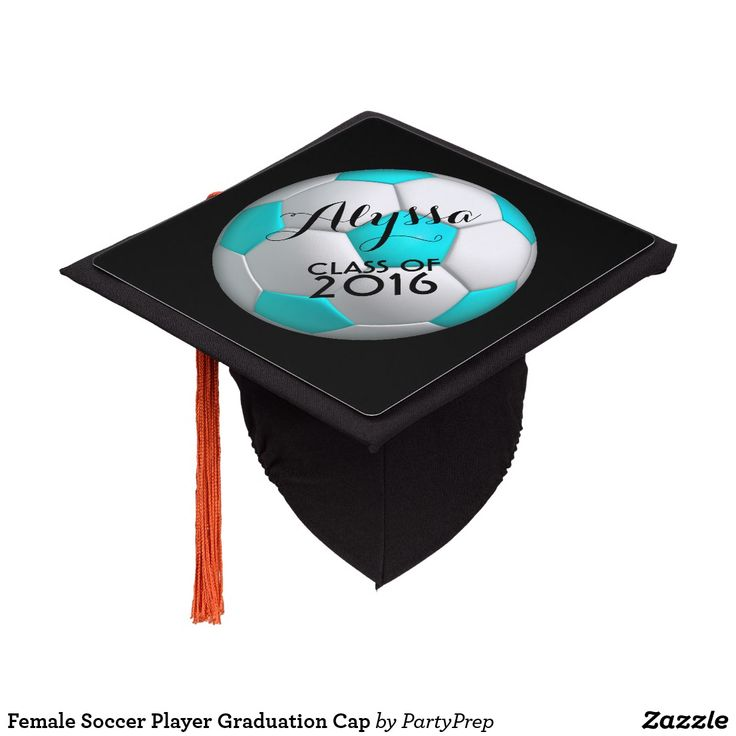 Female Soccer Player Graduation Cap Topper - customize with name and year of graduation.  Aqua blue.