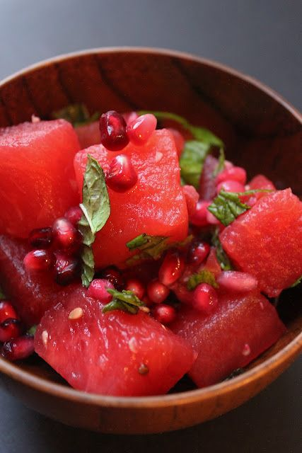 refreshing salad: watermelon, pomegranate, mint, and lime salad