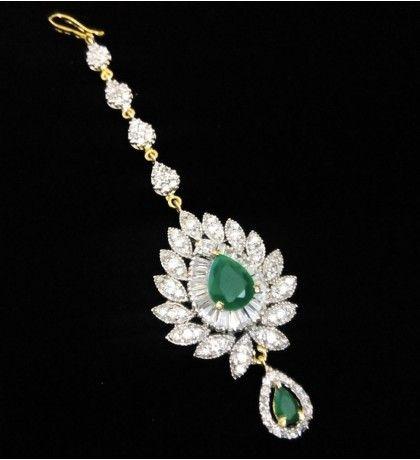 Green American Diamond Studded Maang Tika