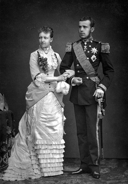 Archduke Rudolph of Austria, the son of Franz Josef and Sisi, with his bride, Stephanie of Belgium, Charlotte's niece.  Another unsuccessful Hapsburg/Saxe-Coburg match. They had one child a daughter Elizabeth before Rudolph gave her gonorrhoea which destroyed her fertility.