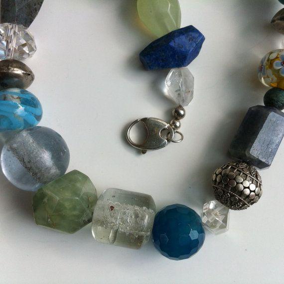 Necklace  Chunky Boho   Aventurine  Lapis  by BluePearEmporium