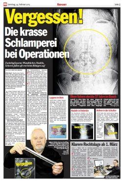 Express vom 24.02.2013 und Hamburger Morgenpost vom 23.02.2013- Vergessen! - Die krasse Schlamperei bei Operationen - Rechtsanwaltskanzlei Sabrina Diehl