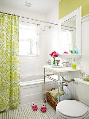 Great small bath: Bathroom Design, Kids Bathroom, Small Bathroom, Modern Bathroom, Bright Color, Bathroom Idea, White Bathroom, Showers Curtains, Bright Bathroom