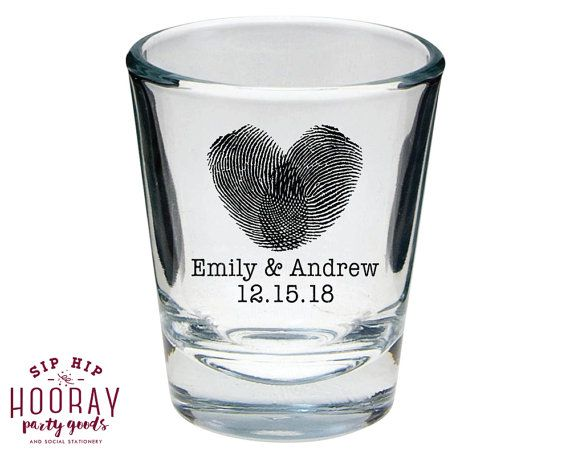 Wedding Favors Shot Glasses Personalized Shot Glasses Shot Glasses Wedding Shot Glasses Shot Glasses Finger Print Shot Glasses by SipHipHooray