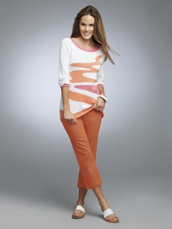 CANDY FLOSS 2    S13730  Boat Neck Intarsia Sweater  Available in *White Combo  Sizes: XS - XXL    S13920  Jean Capri  Available in *Melon, White  Sizes: 2 -18  *Also available in Woman's Sizes W14 - W24