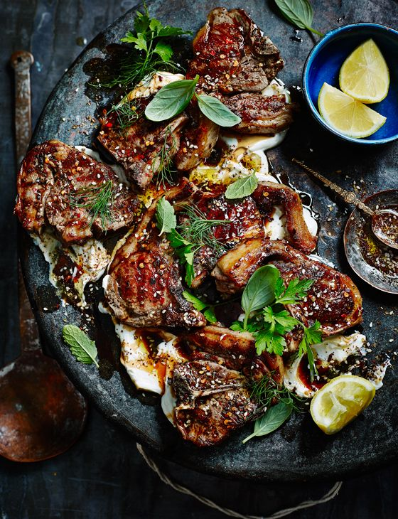 Zaatar lamb chops with salted yogurt, sweet herbs and pomegranate molasses - This would be delicious with crisp roasted potatoes or flatbreads, or serve it with cooked spelt that has extra herbs mixed through it.