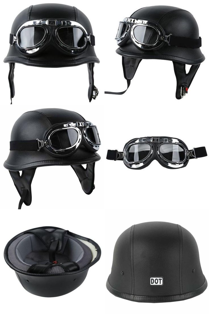 [Visit to Buy] Fashion WWII Style German Motorcycle Half Helmet with Goggles Chopper Biker Pilot Padded Motorcycle Bike Flight Half Helmet #Advertisement