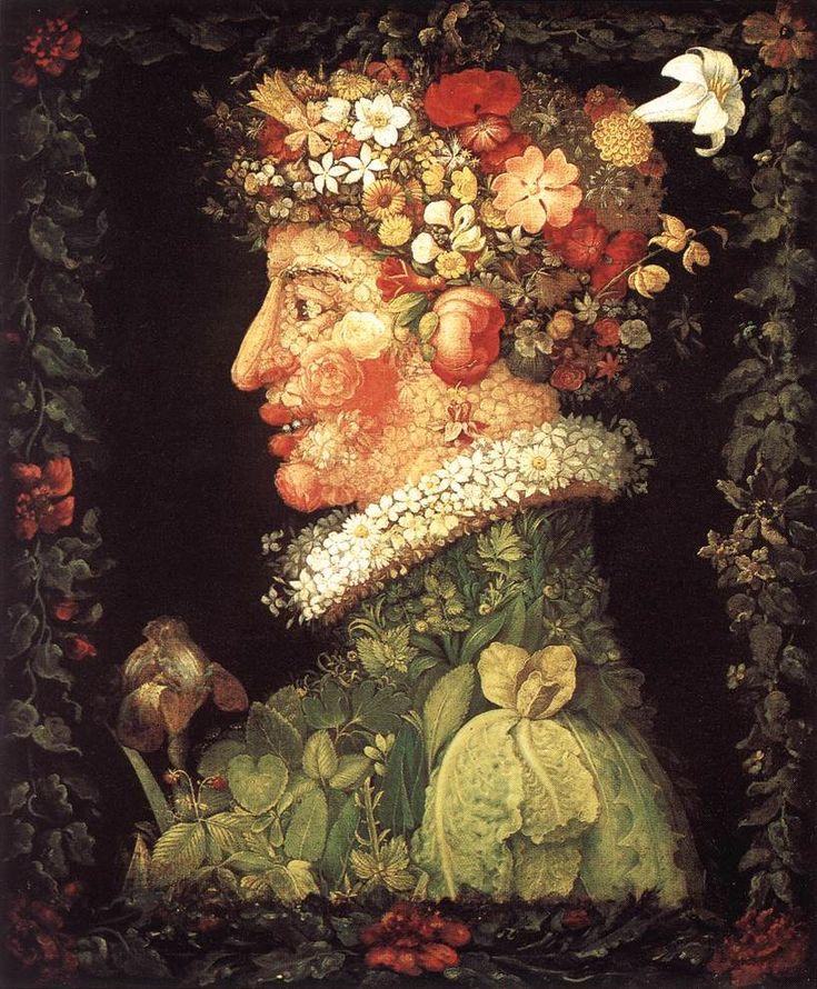 """Arcimboldo; una de sus obras de """"Las Estaciones"""" dando forma de rostros, mediante ls frutas"""