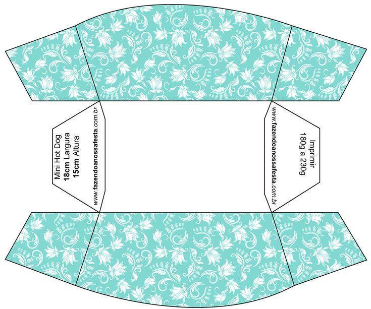 Mini Hot Dog Azul Tiffany Floral e Listras: