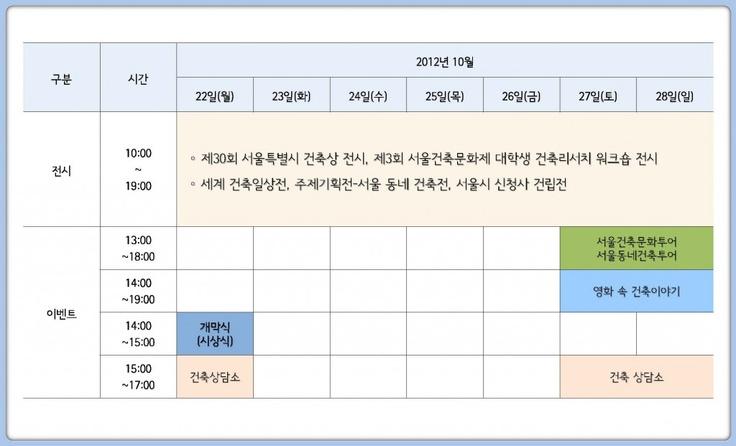 행사일정표 | 2012 서울건축문화제