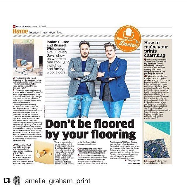 #Repost @amelia_graham_print with @repostapp ・・・ ️Lovely to be featured in today's Metro UK newspaper in @2lovelygays House Doctor column. Thanks guys! Alongside @l_d_f_official , @kudulife , @snedkerstudio, @busterandpunch  #kuduhome #home #decor #interior