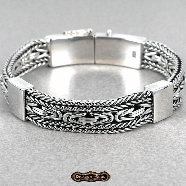 "Bali Wide Woven Viking Chain Bracelet - 925 Sterling Silver - 7.75"", 11-MM - NEW #DragonSoul #Chain #dragon-soul on eBay"