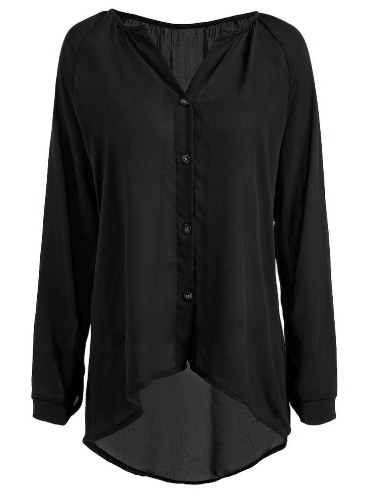 Button High Low Plus Size Chiffon Blouse - BLACK 5XL