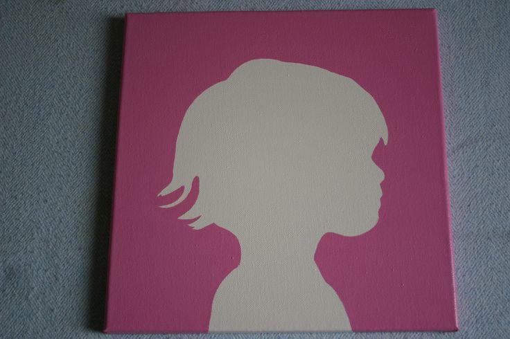 Silhouet op canvasdoek 30x30 cm in prinses roze zijdeglans.