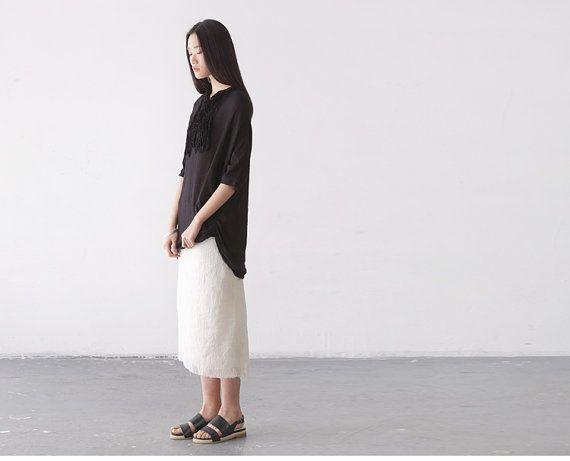 Jacquard textured white minimal skirts BonLife by BonLife on Etsy