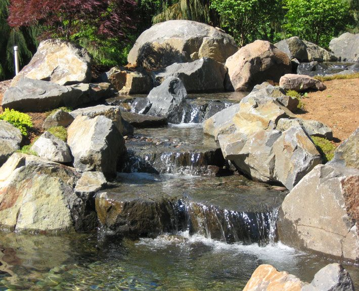 15 best waterfalls images on pinterest backyard ponds for Pond waterfall construction