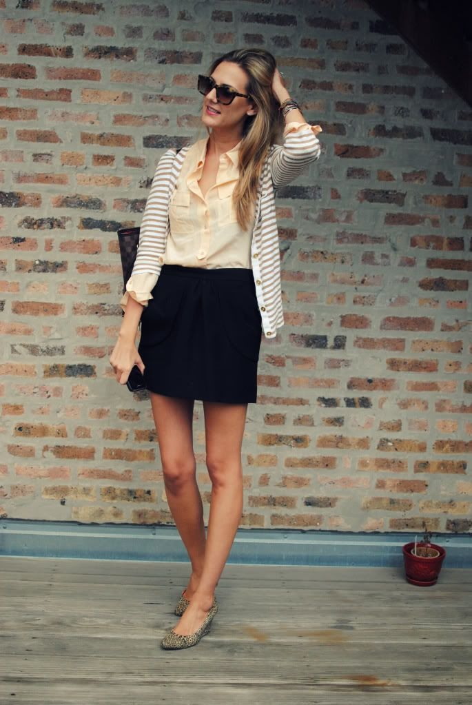 Go to: Business casual any occasion-- Striped cardigan, neutral button  blouse, short black skirt, sunnies