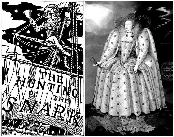 """Comparing a portrait of Queen Elizabeth I (1592, """"Ditchley Portrait"""" by Marcus Gheeraerts the Younger) to the frontcover illustration (1876, by Henry…"""