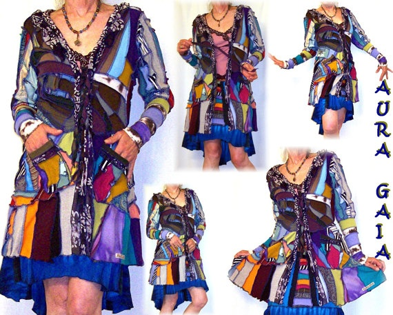 """Jacket Patchwork Jersey Knits Upcycled Couture Stained by AuraGaia, $239.00      Nobody else can do this """"Stained Glass"""" style of clothing like AuraGaia."""