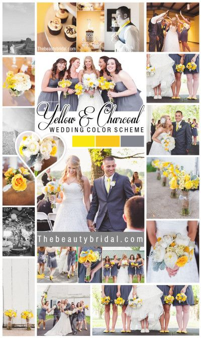 Yellow/Gold and Grey/Charcoal wedding color scheme.