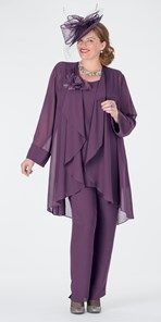 Plus size Box 2 aubergine chiffon jacket, vest and trouser