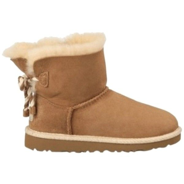 Pre-owned Ugg Australia Nib Uggs Selene 1006493 9 Chestnut Boots ($155) ❤ liked on Polyvore featuring shoes, boots, shoes // socks, chestnut, ugg australia boots, faux-fur boots, embellished boots, mini shoes and bow shoes