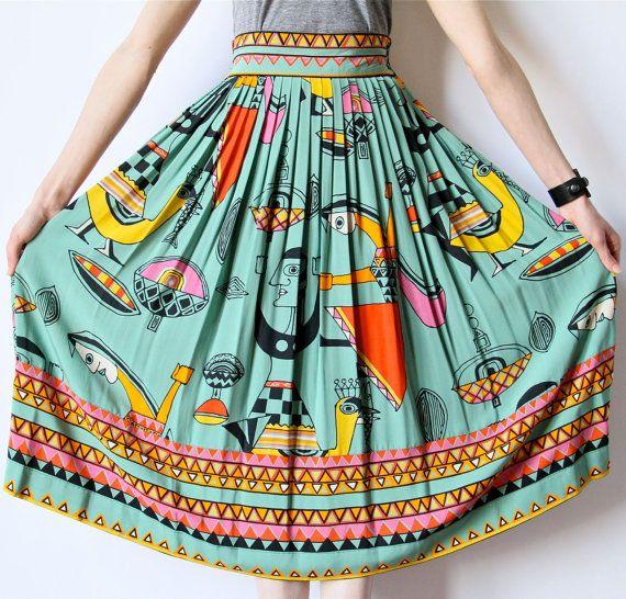 Avant Garde 80s Skirt, Cubist Modern Art Print Teal Midi High Waist pleated pop color Picasso New Wave boho hippie office dress