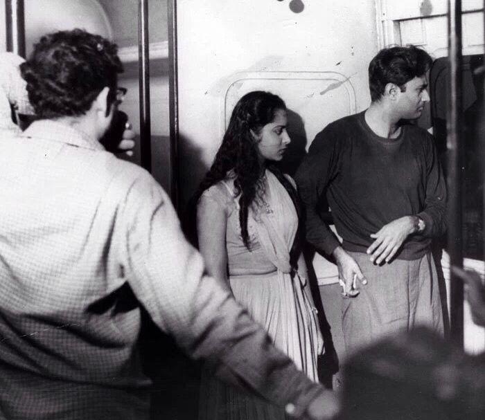 Dev Anand , Waheeda Rehman with Guru Dutt filming C.I.D.