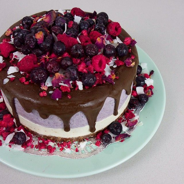 raw vegan, gluten-free, sans refined sugar, 'Berries & Cream' cake covered in raw chocolate by Katherine Sabbath